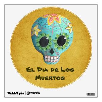Cráneo del azúcar Blue Dia de Los Muertos Art Vinilo Decorativo