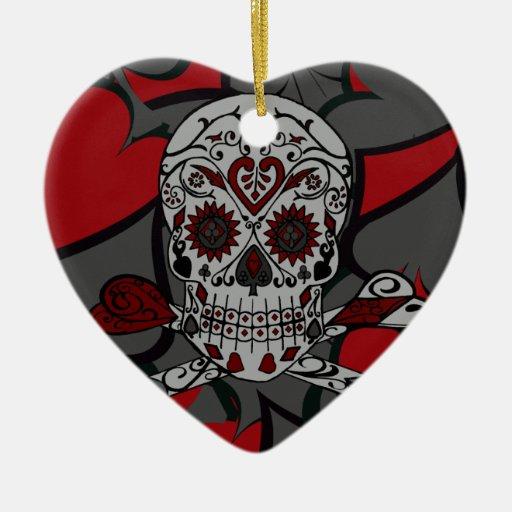 Cráneo del azúcar con diseño de naipe de la bander ornamentos para reyes magos