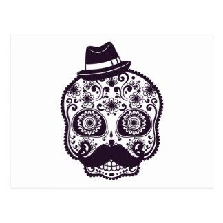Cráneo del azúcar con el gorra de Fedora Tarjetas Postales
