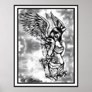 Cráneo del azúcar con las alas posters