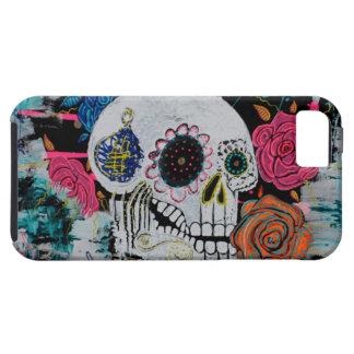Cráneo del azúcar con los rosas iPhone 5 Case-Mate coberturas