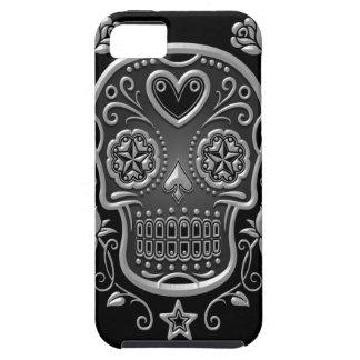Cráneo del azúcar con los rosas, oscuros iPhone 5 protectores