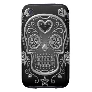 Cráneo del azúcar con los rosas, oscuros tough iPhone 3 coberturas