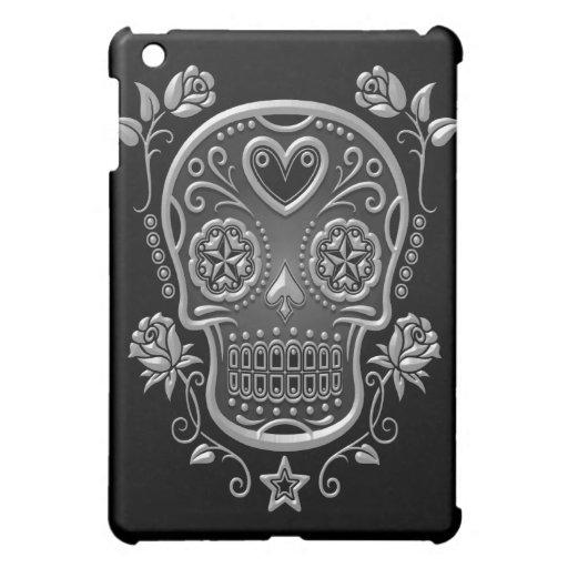 Cráneo del azúcar con los rosas, oscuros iPad mini protector