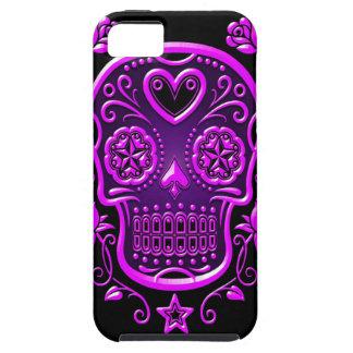 Cráneo del azúcar con los rosas, púrpuras iPhone 5 fundas