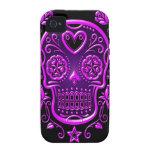 Cráneo del azúcar con los rosas, púrpuras iPhone 4 fundas
