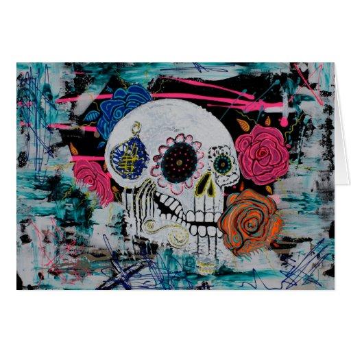 Cráneo del azúcar con los rosas tarjeta de felicitación