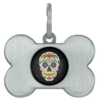 Cráneo del azúcar, cráneo del tatuaje, cráneo placa de nombre de mascota