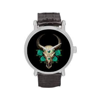 Cráneo del azúcar de Bull con los rosas del trullo Reloj