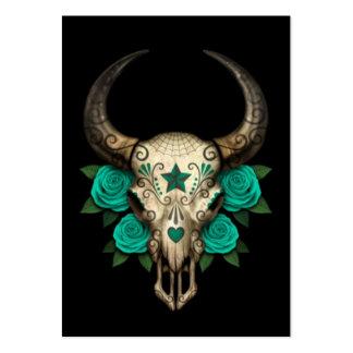 Cráneo del azúcar de Bull con los rosas del trullo Tarjeta Personal