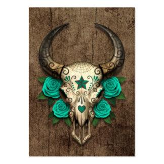 Cráneo del azúcar de Bull con los rosas del trullo Tarjetas De Visita Grandes