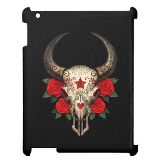 Cráneo del azúcar de Bull con los rosas rojos en n