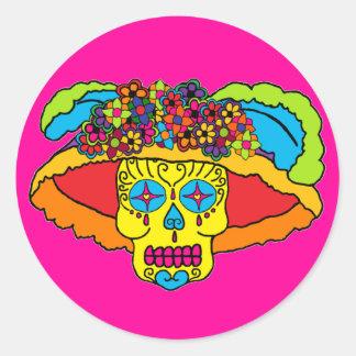 Cráneo del azúcar de Catrina Etiqueta Redonda