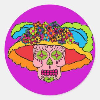 Cráneo del azúcar de Catrina Pegatina Redonda