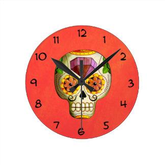 Cráneo del azúcar de Dia de Los Muertos mexican Reloj Redondo Mediano