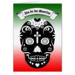 cráneo del azúcar de dia de los muertos tarjeta pequeña