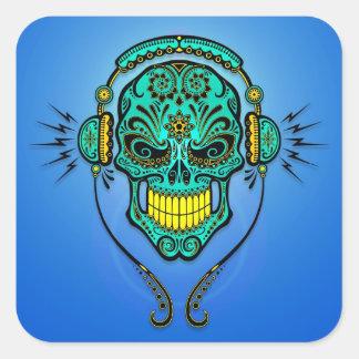 Cráneo del azúcar de DJ - azul y amarillo Pegatina Cuadrada