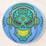 Cráneo del azúcar de DJ - azul y amarillo Posavaso Para Bebida