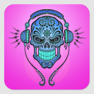 Cráneo del azúcar de DJ - azul y púrpura Pegatina Cuadrada