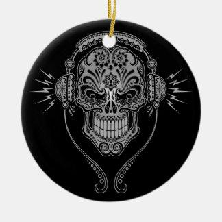 Cráneo del azúcar de DJ - negro Adorno De Reyes