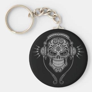 Cráneo del azúcar de DJ - negro Llavero Redondo Tipo Pin