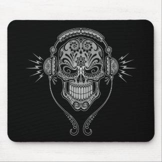 Cráneo del azúcar de DJ - negro Alfombrillas De Ratones
