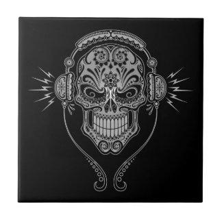 Cráneo del azúcar de DJ, oscuro Azulejo Cerámica