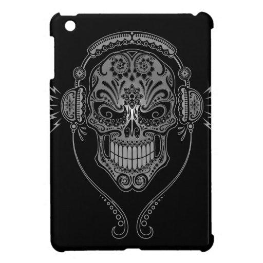 Cráneo del azúcar de DJ, oscuro iPad Mini Funda