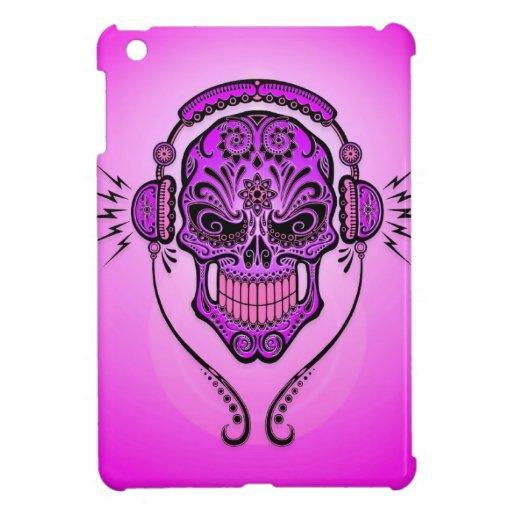 Cráneo del azúcar de DJ, púrpura iPad Mini Protector