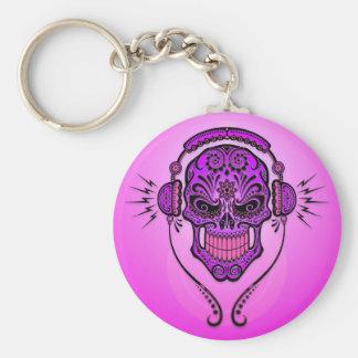 Cráneo del azúcar de DJ - púrpura Llavero Redondo Tipo Pin