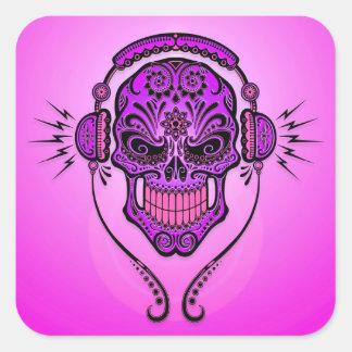 Cráneo del azúcar de DJ - púrpura Pegatina Cuadrada