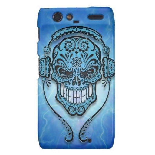 Cráneo del azúcar de DJ, relámpago azul Droid RAZR Carcasas