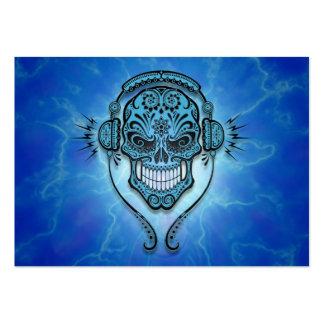 Cráneo del azúcar de DJ, relámpago azul Tarjetas Personales