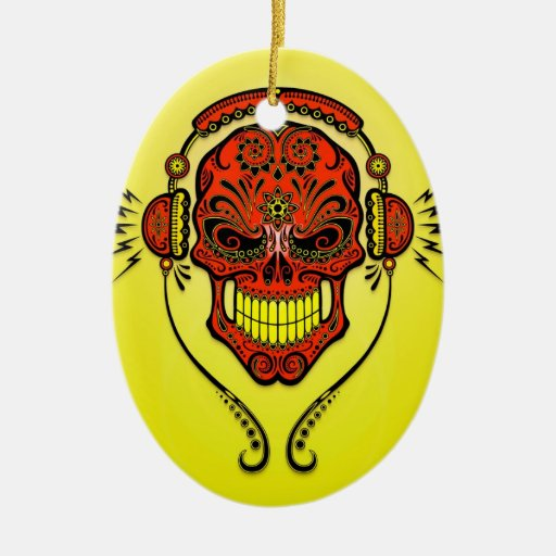 Cráneo del azúcar de DJ - rojo y amarillo Ornamento Para Reyes Magos