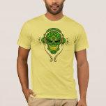Cráneo del azúcar de DJ - verde y amarillo Playera