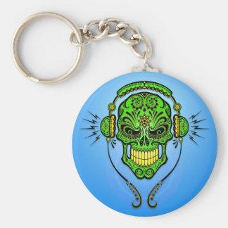 Cráneo del azúcar de DJ - verde y azul Llavero Redondo Tipo Pin