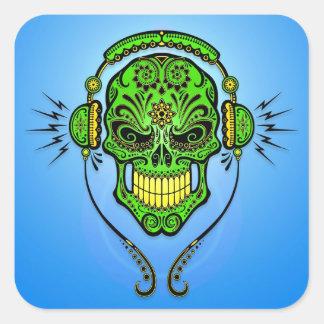 Cráneo del azúcar de DJ - verde y azul Pegatina Cuadrada