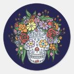 Cráneo del azúcar de Flowerhair Pegatina Redonda