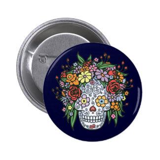 Cráneo del azúcar de Flowerhair Pin Redondo De 2 Pulgadas