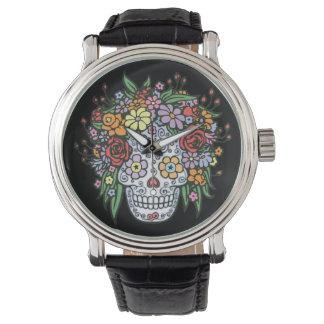 Cráneo del azúcar de Flowerhair Reloj