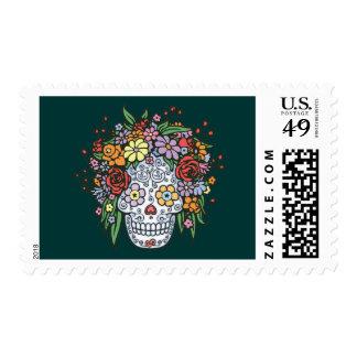 Cráneo del azúcar de Flowerhair Sellos Postales