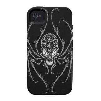 Cráneo del azúcar de la araña oscuro Case-Mate iPhone 4 funda