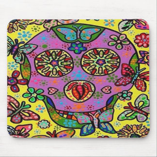 Cráneo del azúcar de la mariposa de la flor de Sun Tapetes De Raton