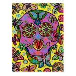 Cráneo del azúcar de la mariposa de la flor de Sun Tarjetas Postales