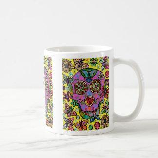 Cráneo del azúcar de la mariposa de la flor de Sun Taza De Café
