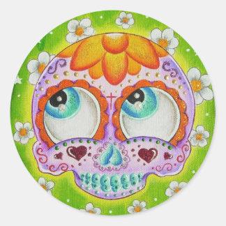 Cráneo del azúcar de los Margaritas Pegatina Redonda