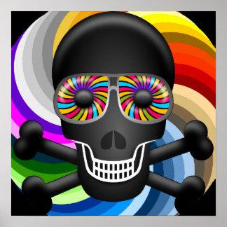 Cráneo del azúcar del arco iris póster