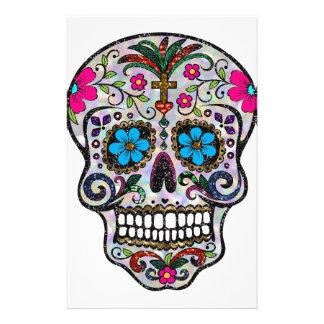 cráneo del azúcar del brillo personalized stationery