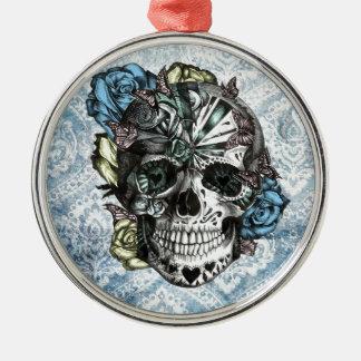 Cráneo del azúcar del caramelo del Grunge en amari Adorno De Navidad