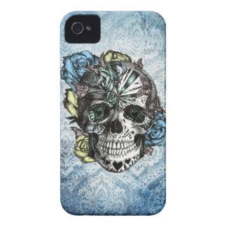 Cráneo del azúcar del caramelo del Grunge en amari iPhone 4 Fundas
